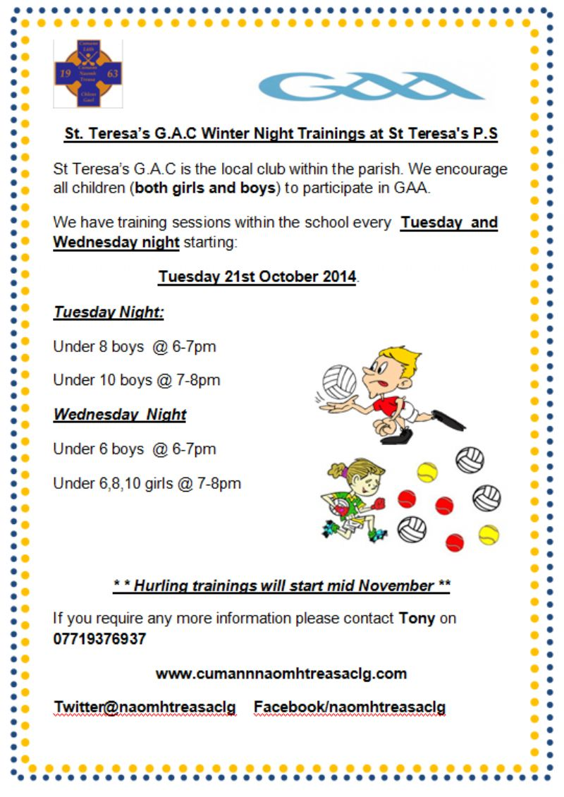 WINTER TRAINING TIMES FOR JUVENILES @ ST TERESA'S PS